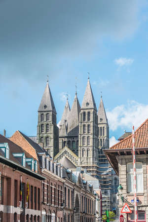 The mixed Romanesque- and Gothic-style Cathedral of Our Lady of Tournai(Notre-Dame de Tournai) in Belgium.