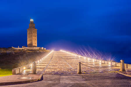 rehabilitated: Tower of Hercules, the almost 1900 years old and rehabilitated in 1791 55 metres tall structure is the oldest Roman lighthouse in use today and overlooks the Atlantic coast of Spain from A Coruna.
