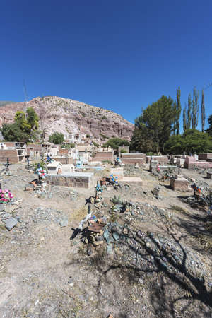 siete: Cemetery in Purmamarca, near Cerro de los Siete Colores (The Hill of Seven Colors), in the colourful valley of Quebrada de Humahuaca in Jujuy Province, northern Argentina.