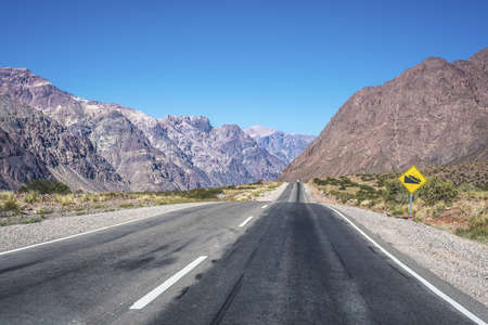 National Road 7 passing by the Department of Las Heras in Mendoza, Argentina photo