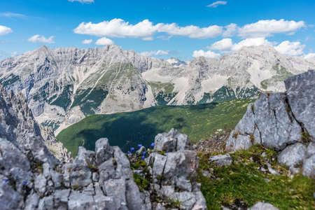 Inn Valley as seen from Nordkette mountain and ski area in Tyrol region, nord of Innsbruck in western Austria.