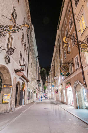 Getreidegasse (also known as Grain Lane) is a busy shopping street in the Old-Town section of Salzburg, Austria