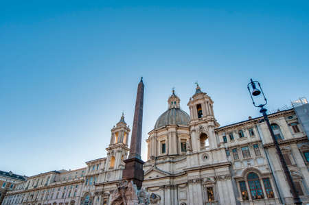 1st century ad: Piazza Navona, built on the site of the Stadium of Domitian, built in 1st century AD, and follows the form of the open space of the stadium in Rome, Italy
