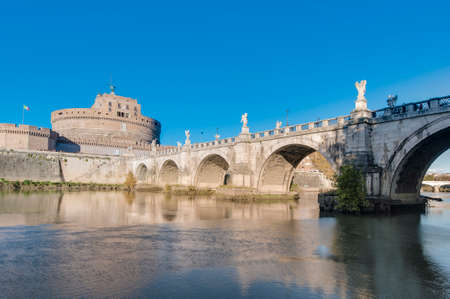 The Tiber (Tevere) river, the third-longest river in Italy, passing through Rome. Stock Photo