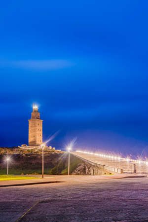 55 years old: Tower of Hercules, the almost 1900 years old and rehabilitated in 1791 55 metres tall structure is the oldest Roman lighthouse in use today and overlooks the Atlantic coast of Spain from A Coruna.
