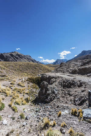horcones: Aconcagua, the highest mountain in the Americas at 6.960.8 m., located in the Andes mountain range in Mendoza, Argentina.