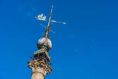 dedicated: Obelisk dedicated to Don Aureliano Linares Rivas in A Coruna, Galicia, Spain