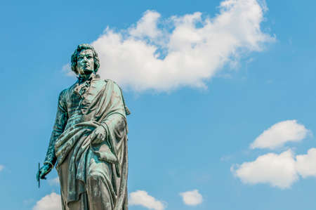 mozart: Mozart statue on Mozart Square (Mozartplatz) located at Salzburg, Austria