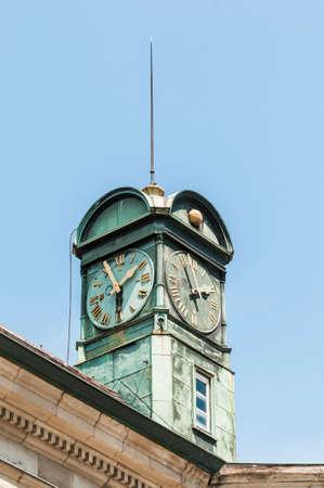 neues: New Town Hall building (Neues Rathaus) clock tower in Esslingen am Neckar near Stuttgart, Germany
