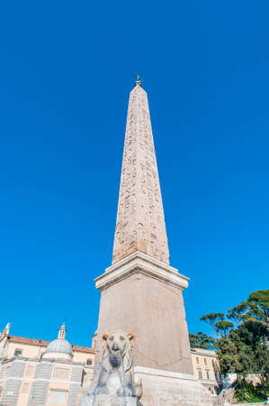 Piazza del Popolo (Peoples Square) named after the church of Santa Maria del Popolo in Rome, Italy Stock Photo