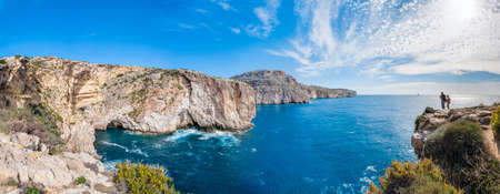 Views of the mediterranean sea from the Dingli Cliffs (Rdum ta Had-Dingli) in Malta