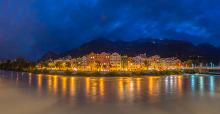 kilometres: Inn river, a 517 kilometres long tributary of the Danube on its way through Innsbruck, Upper Austria.