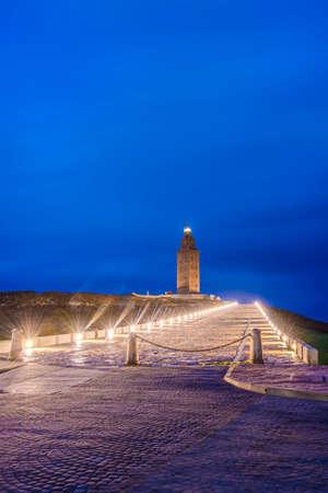 Tower of Hercules overlooks the Atlantic coast of Spain from A Coruna. photo