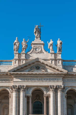 caput: The Papal Archbasilica of St. John Lateran (Arcibasilica Papale di San Giovanni in Laterano), the official ecclesiastical seat of the Bishop of Rome Stock Photo