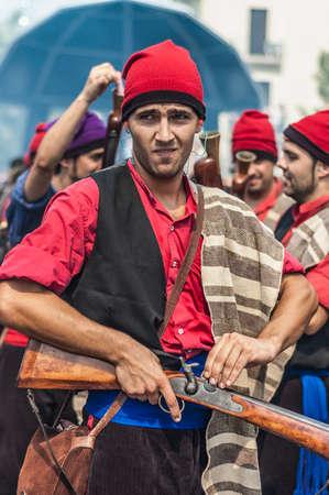 festividad: VILAFRANCA DEL PENEDES, SPAIN - AUG 29: Ball den Serrallonga dance on Cercavila performance within the Festa Major celebrations Aug 29, 2012 in Vilafranca del Penedes, Spain.