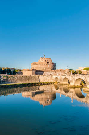 The Mausoleum of Hadrian, usually known as the Castle of the Holy Angel (Castel Sant Angelo), a towering cylindrical building in Parco Adriano, Rome, Italy Editorial