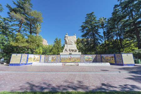 plazas: Spain Square, one of the four smaller plazas located 2 blocks off each corner of Independence Plaza in Mendoza, Argentina.