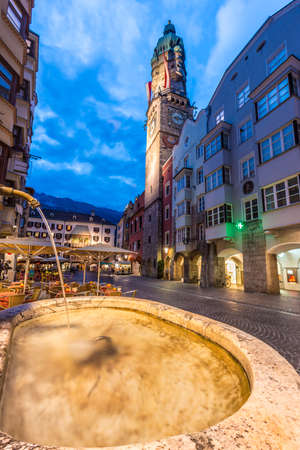 a watchman: INNSBRUCK, AUSTRIA - AUG 14: The City Tower, accommodated the room of the watchman who was to look out for enemies and fires as well as to keep the peace on Aug 14, 2013 in Innsbruck, Austria. Editorial