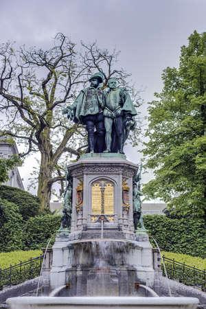 egmont: Statue of Egmont and Hoorne on Petit Sablon (Kleine Zavel) Square in Brussels, Belgium Stock Photo