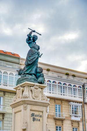 groyne: Monument to Maria Mayor Fernandez de Camara y Pita, known as Maria Pita, was a Galician heroine of the defense of A Coruna in 1589 against the English Armada in Galicia, Spain.
