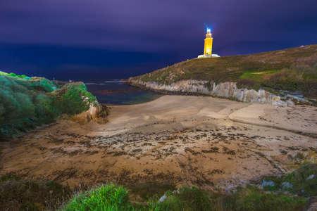 groyne: Lapas Beach near the Tower of Hercules in A Coruna, Galicia, Spain. Stock Photo