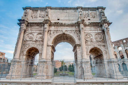 constantine: Arch of Constantine (Arco di Costantino), a triumphal arch in Rome, located between the Colosseum and the Palatine Hill. Stock Photo