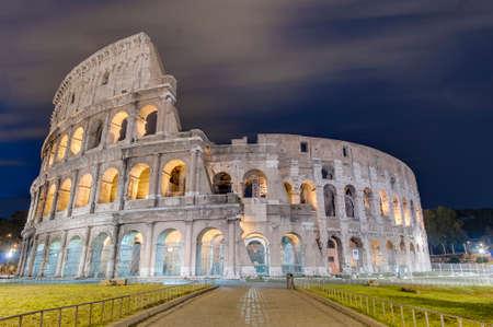 The Colosseum, or the Coliseum, originally the Amphitheatrum Flavium, an elliptical amphitheatre in Rome, Italy. Stock Photo