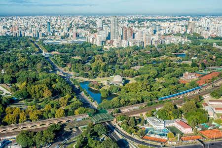Palermo gardens bird eye view in Buenos Aires, Argentina.