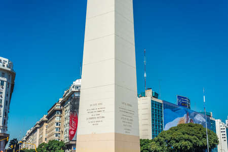 corrientes: BUENOS AIRES, ARGENTINA - APR 08: The Obelisk (El Obelisco), the most recognized landmark in the capital on Apr 08, 2013 in Buenos Aires, Argentina.