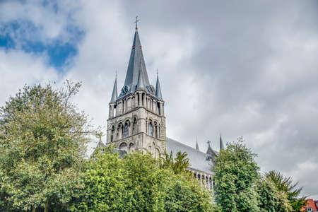 romanesque: Romanesque church of Saint-Jacques in Tournai, Belgium. Stock Photo