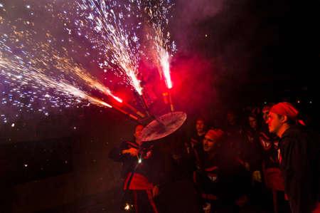 fireruns: EL VENDRELL, ES - JUL 29: Fireruns at the Festa Major celebrations Jul 29, 2011 in El Vendrell, ES.
