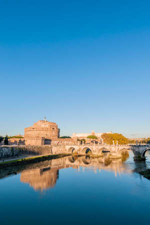 The Mausoleum of Hadrian, usually known as the Castle of the Holy Angel (Castel Sant Angelo), a towering cylindrical building in Parco Adriano, Rome, Italy photo