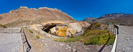 tributary: The Incas Bridge (Puente del Inca), a natural arch that forms a bridge over the Vacas River, a tributary of the Mendoza River in Argentina. Stock Photo