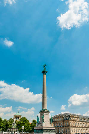 Jubilee Column (Jubilaumssaule) at Castle Square (Schlossplatz), the main square in Stuttgart, Germany photo