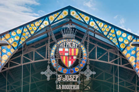 Boqueria Market entrance in Ramblas street, Barcelona, Spain Фото со стока