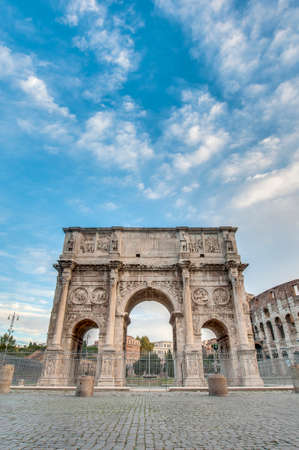 Arch of Constantine (Arco di Costantino), a triumphal arch in Rome, located between the Colosseum and the Palatine Hill. Stock Photo