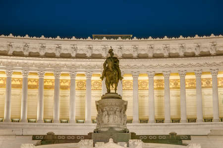 altar of fatherland: Monumento Nazionale a Vittorio Emanuele II (National Monument to Victor Emmanuel II) or Altare della Patria (Altar of the Fatherland) or Il Vittoriano built in honour of Victor Emmanuel in Rome, Italy. Stock Photo