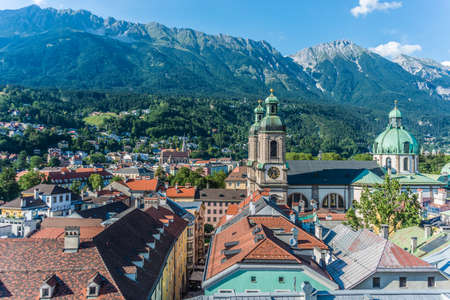 tirol: General view of Innsbruck, the capital city of the federal state of Tyrol (Tirol) located in the Inn Valley in western Austria.