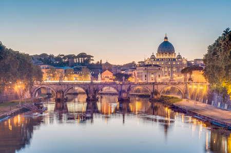 Ponte SantAngelo, once the Aelian Bridge or Pons Aelius (Bridge of Hadrian) in Rome, Italy,