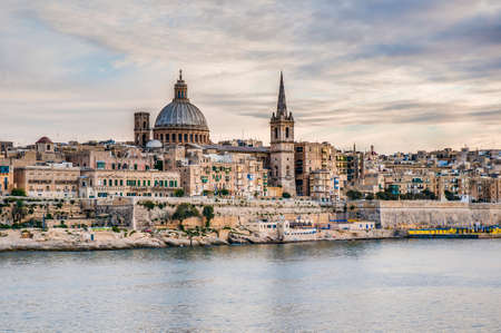 Valletta seafront skyline view as seen from Sliema shoreline, Malta