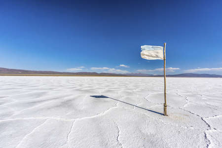 Flag waving on the Salinas Grandes salt flats in Jujuy province, northern Argentina. photo