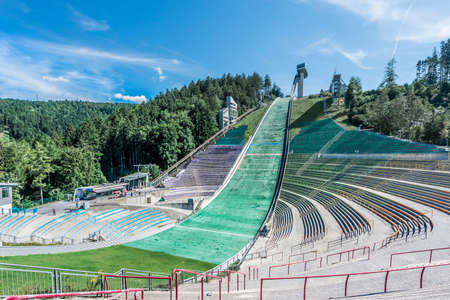 iraqi: Bergiselschanze ski jumping hill tower finished in 2003 and designed by the British Iraqi architect Zaha Hadid in Bergisel in Innsbruck, Austria. Editorial