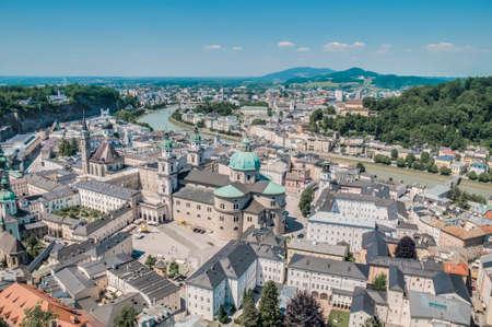 salzach: Salzburg general view as seen from Salzburg Fortress (Festung Hohenzalsburg) eastern viewpoint, Austria Stock Photo