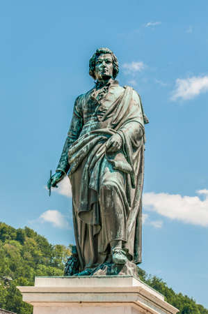 unesco world cultural heritage: Mozart statue on Mozart Square (Mozartplatz) located at Salzburg, Austria