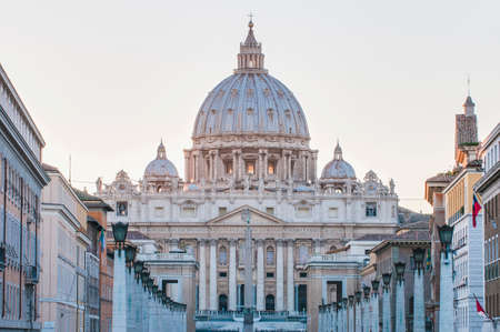 The Papal Basilica of Saint Peter in the Vatican (Basilica Papale di San Pietro in Vaticano), commonly known as Saint Peters Basilica located within Vatican City in Rome, Italy photo