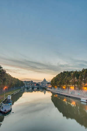 tevere: The Tiber (Tevere) river, the third-longest river in Italy, passing through Rome. Stock Photo