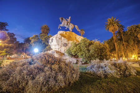 San Martin Square, one of the four smaller plazas located 2 blocks off each corner of Independence Plaza in Mendoza, Argentina. Stock Photo
