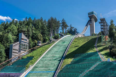 iraqi: Bergiselschanze ski jumping hill tower finished in 2003 and designed by the British Iraqi architect Zaha Hadid in Bergisel in Innsbruck, Austria. Stock Photo