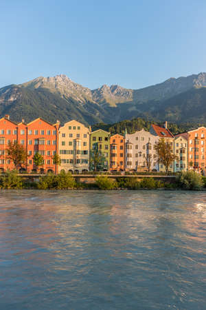 tributary: Inn river, a 517 kilometres long tributary of the Danube on its way through Innsbruck, Upper Austria.
