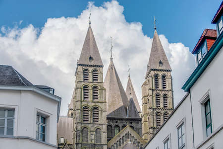 wallonie: The mixed Romanesque- and Gothic-style Cathedral of Our Lady of Tournai(Notre-Dame de Tournai) in Belgium.